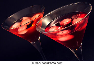 Iced cocktails - Two martini glasses