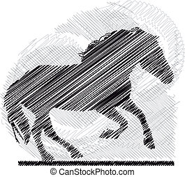 Sketch of abstract horses Vector illustration
