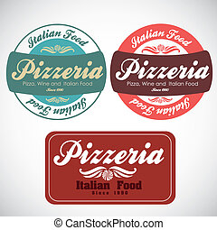 vintage pizzeria label illustrations, in warm colors, vector...