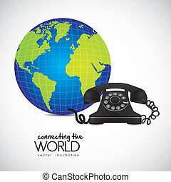 phone connected to the world - illustration of a rotary...