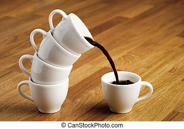 Pouring coffee.