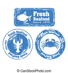 Stamp of sea animals - Stamp illustration of sea animals,...