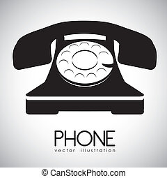 Rotary phone - illustration of a rotary phone, black color,...