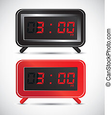 digital clock - illustration of digital clock, isolated on...