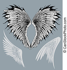 Wings feathered - Feathered spread out angelic bird eagle...