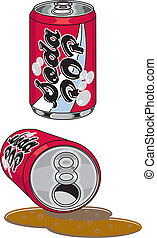 Soda Pop Cans - Soda Pop beverage cans spilled and upright