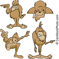 Sasquatch - Various poses of Bigfoot sasquatch cartoon