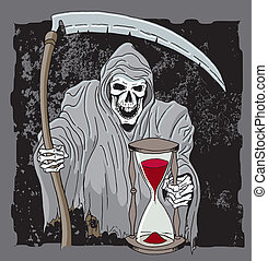 Reaper - Scary Grim reaper holding scythe and hour glass...
