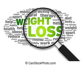 Weight Loss - Magnified illustration with the word Weight...