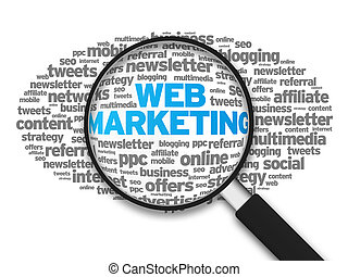 Web Marketing - Magnified illustration with the word Web...