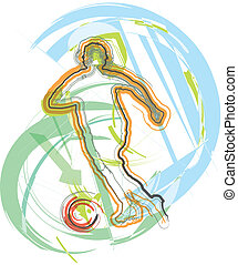 Football player in action. Vector illustration