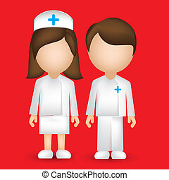 male and female nurse - illustration of a male and female...