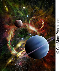 Illustration of Two Alien Planets in Space - Illustration -...