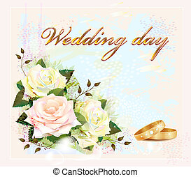wedding card with rings and roses