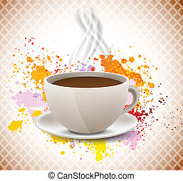 Coffe cup on grunge abstract colorful background