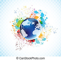 Background with globe - Abstract grunge colorful background...