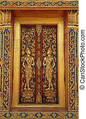 Golden Window with Guardian Angels - In Thailand, most of...