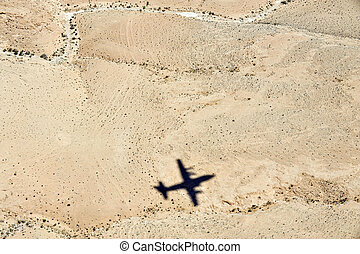 Travel Photos Israel - Negev Desert - Airplane shadow above...