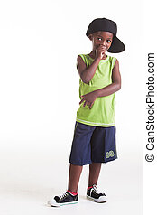 Rapper child - The rapper child in the studio with his rap...