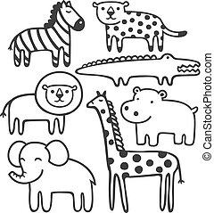 Wild animals in black and white vector illustration set