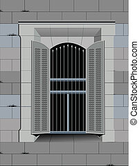 Fragment of old castle wall with window. Vector illustration...