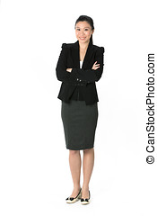 Chinese Asian woman in a business suit - Full length...