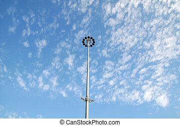 Street lights in blue sky