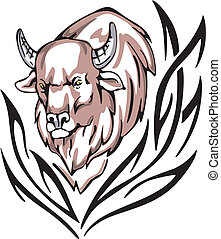 bison tattoo - Tattoo with bison head. Color vector...
