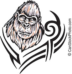 gorilla tattoo - Tattoo with gorilla head Color vector...