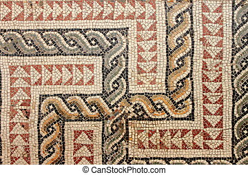 Ancient roman mosaic - Closeup view of an ancient roman...