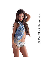 young sexy woman posing in jeans - sexy young woman posing...