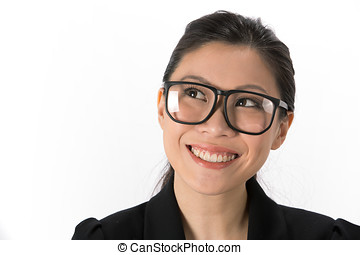 Happy Asian Business woman looking up. - Portrait of a happy...