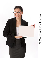 Business woman holding billboard. - Asian Business woman...