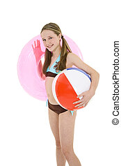 Preteen girl - Preteen caucasian girl standing on a white...