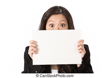 Shocked Business woman holding billboard. - Suprised Asian...