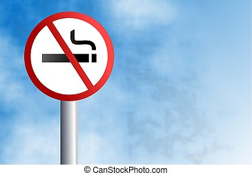 no smoking sign - a no smoking signpost agsinst a sky...