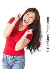 Portrait of a happy Asian woman. - Happy Asian woman with...