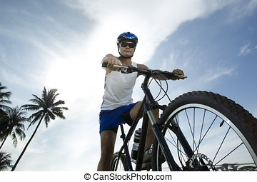 Cyclist riding a bicycle