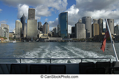 Circular Quay in Sydney, photo taken from ferry