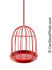 Bird cage with empty space for objects. business metaphor.