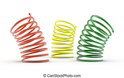 Colorful 3d springs - 3d springs on white background.