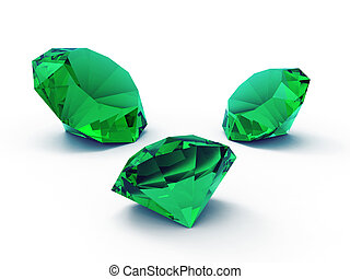 A beautiful emerald gems isolated on white background