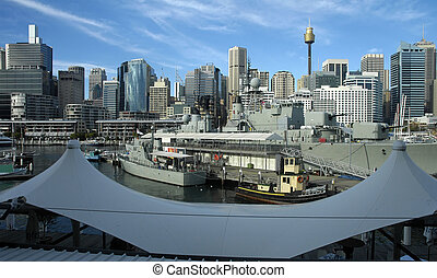 view from darling harbour - darling harbour, army battle...