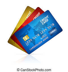 Credit card collection isolated - High detail illustration...