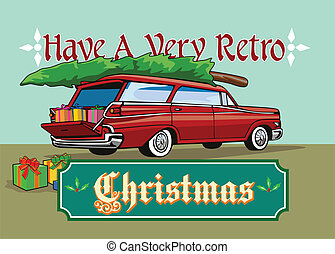 Retro Christmas Tree Station Wagon - Greeting card poster...