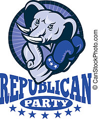 Republican Elephant Mascot Boxer - Illustration of a...