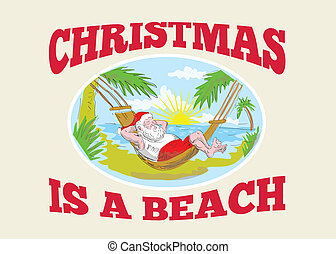 Santa Claus Father Christmas Beach Relaxing - Sketch style...