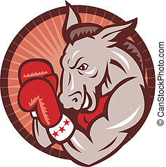 Republican Donkey Mascot Boxer Boxing Retro - Illustration...
