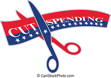 Cut Spending Scissors Cutting Bill - Illustration of a pair...