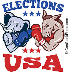 Democrat Donkey Republican Elephant Mascot - Illustration of...